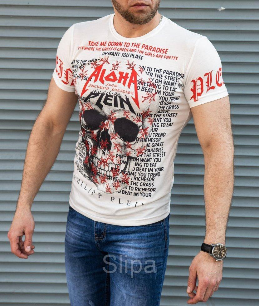 Белая мужская футболка Philipp Plein Aloha