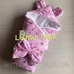 Конверт-одеяло с капюшоном и ушками, на махре Звездочка, розовый