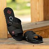 Мужские кожаные шлепанцы черного цвета, фото 4