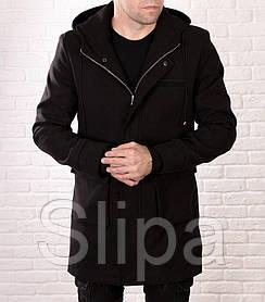 Мужское молодежное пальто из кашемира черного цвета на молнии с капюшоном