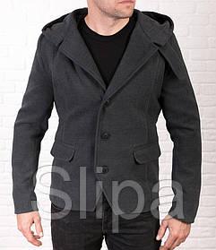 Мужское молодежное пальто-тренч из кашемира серого цвета