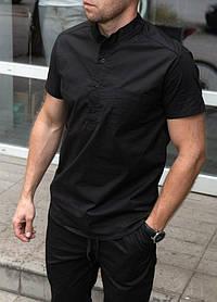 Мужская стрейчевая черная рубашка короткий рукав