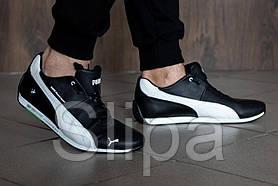 Мужские кожаные кроссовки Puma bmw чёрные с белым на шнуровке | 45 размер