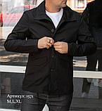 Мужская куртка пиджак из коттона чёрного цвета, фото 2