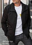 Мужская куртка пиджак из коттона чёрного цвета, фото 3