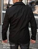Мужская куртка пиджак из коттона чёрного цвета, фото 5