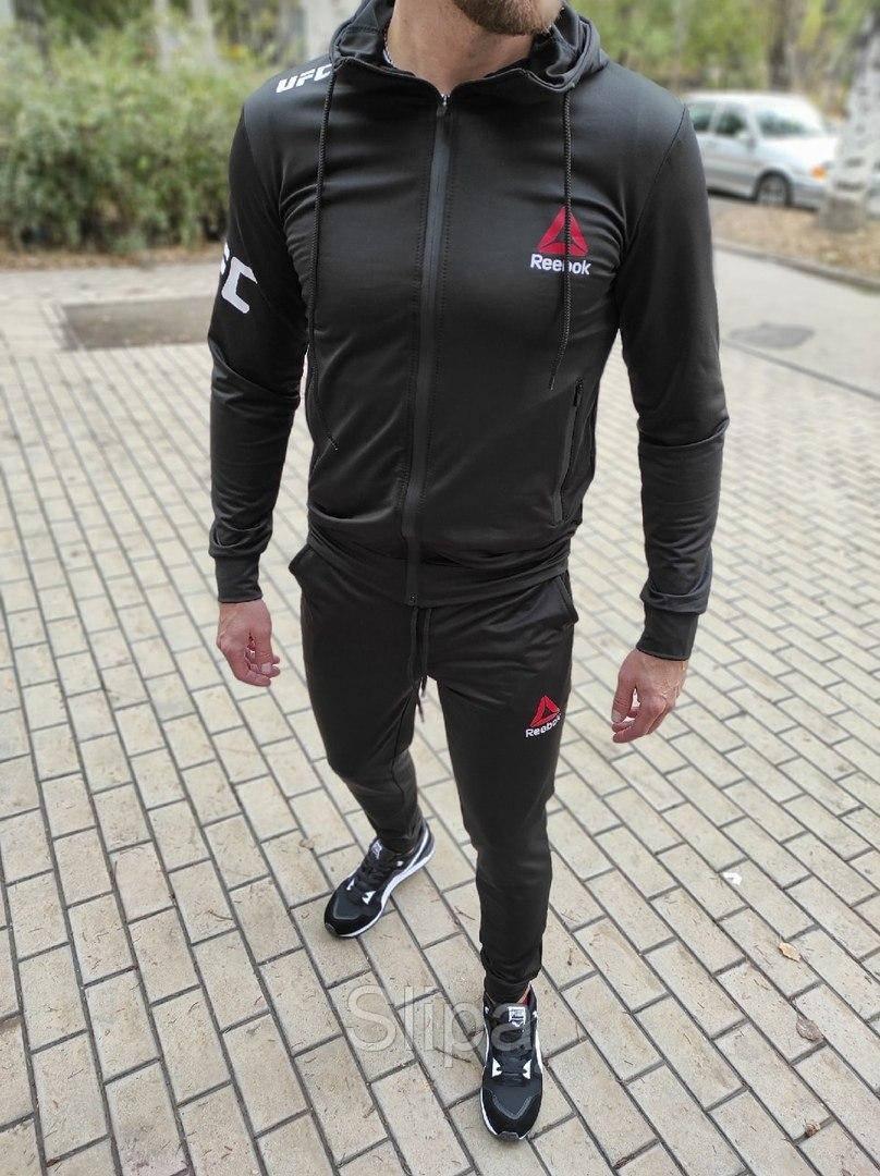 Мужской спортивный костюм Reebok UFC чёрный с капюшоном