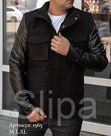 Мужская куртка пальто чёрная из кашемира с кожаными рукавами утепленная