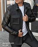 Чоловіча куртка пальто сіра з кашеміру з шкіряними рукавами утеплена, фото 2