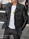 Чоловіча куртка пальто сіра з кашеміру з шкіряними рукавами утеплена, фото 3