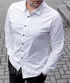 Белая мужская рубашка длинный рукав