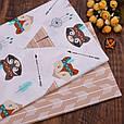 Сатин (хлопковая ткань)  лисички и мишки индейцы (50*160), фото 3