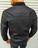 Мужская куртка бомбер чёрная матовая кожа, фото 5