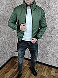 Мужская утепленная куртка бомбер хаки, фото 6