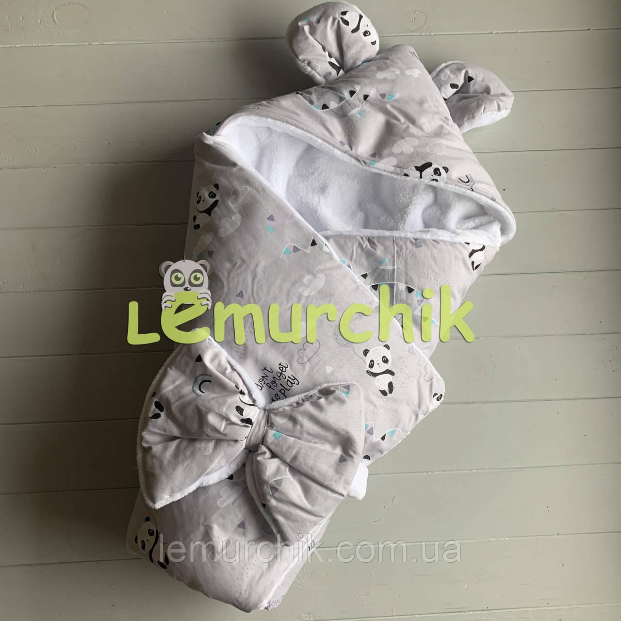 Конверт-одеяло с капюшоном и ушками, на махре Панды, серый