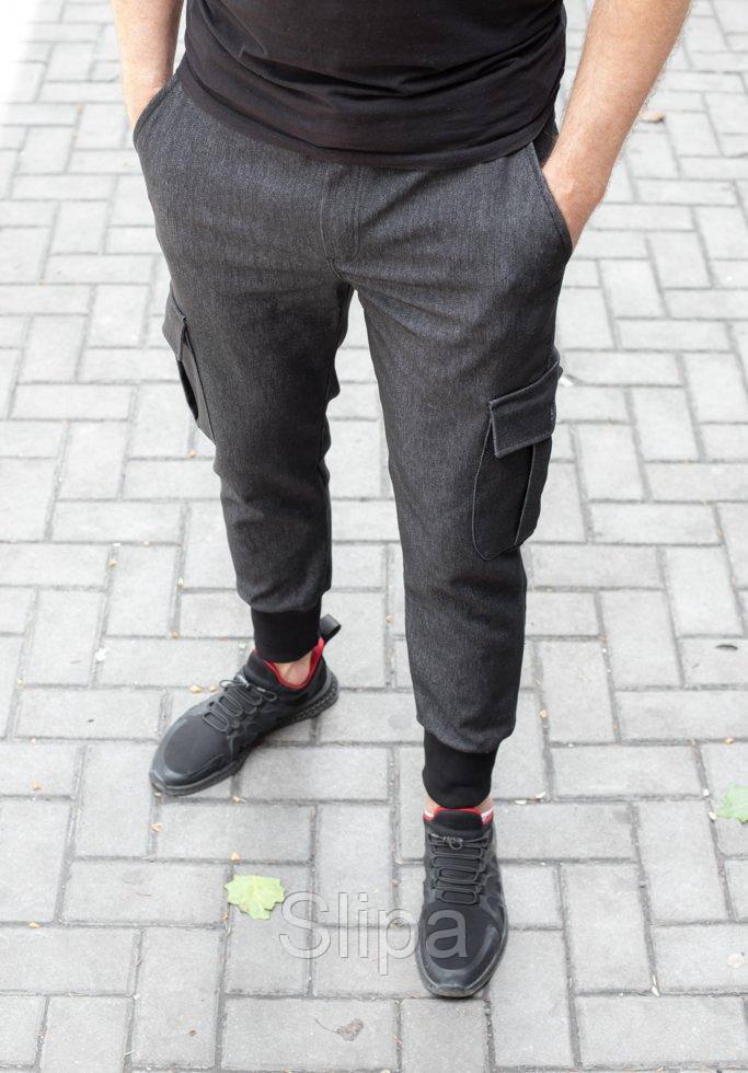 Мужские джоггеры с карманами карго из стрейчевой джинсовой ткани