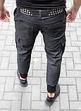 Мужские джоггеры с карманами карго из стрейчевой джинсовой ткани, фото 4