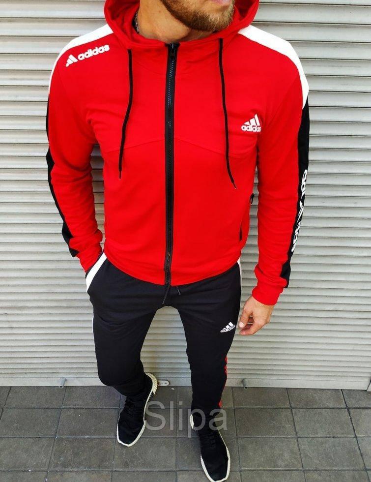 Мужской спортивный костюм Adidas красный на манжетах