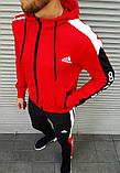Мужской спортивный костюм Adidas красный на манжетах, фото 4