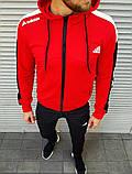 Мужской спортивный костюм Adidas красный на манжетах, фото 5