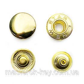 Кнопка металлическая Альфа 15мм. Турция цвет золото (50 шт в упаковке)