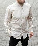 Стильная мужская льняная рубашка , воротник стойка, фото 2