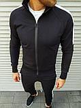 Мужской спортивный костюм чёрный с белыми лампасами, фото 4
