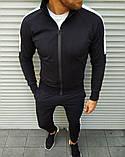 Мужской спортивный костюм чёрный с белыми лампасами, фото 5