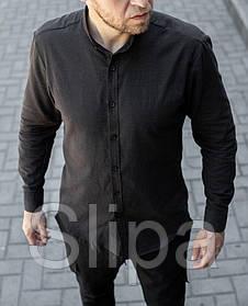 Стильная мужская льняная рубашка чёрная , воротник стойка