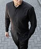 Стильная мужская льняная рубашка чёрная , воротник стойка, фото 2