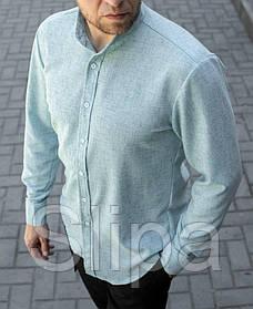 Стильная мужская льняная рубашка голубая , воротник стойка