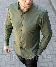 Стильная мужская льняная рубашка зелёная , воротник стойка