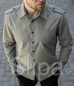 Мужская рубашка с погонами цвета хаки, длинный рукав