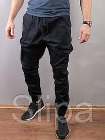 Мужские штаны джоггеры темно-синие свободный крой