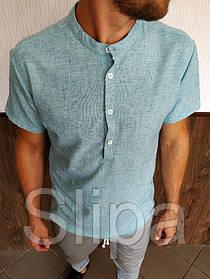 Мужская бирюзовая льняная рубашка короткий рукав