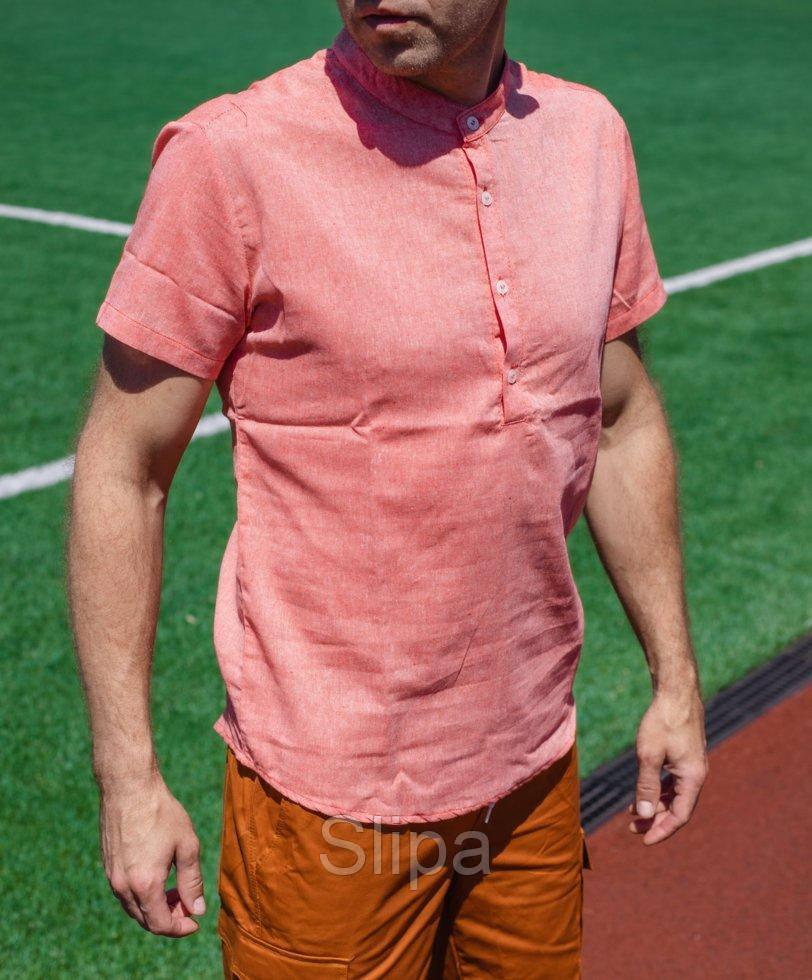 Мужская коралловая льняная рубашка короткий рукав
