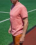 Мужская коралловая льняная рубашка короткий рукав, фото 3