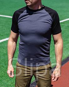 Мужская футболка тёмно-серая с чёрными рукавами