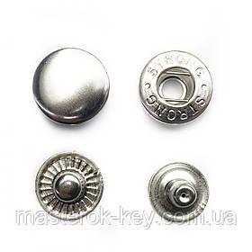 Кнопка металлическая Альфа 15мм. Турция цвет никель (50 шт в упаковке)