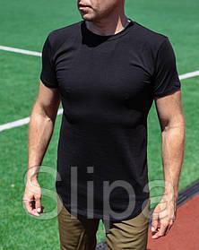 Мужская удлиненная футболка серого цвета