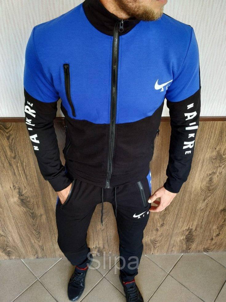 Мужской спортивный костюм Nike Air синий с чёрным