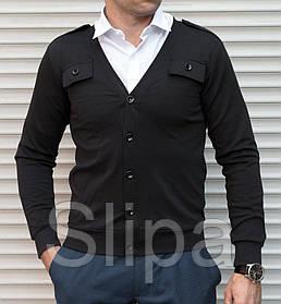 Чёрная мужская кофта кардиган на пуговицах с погонами