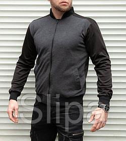 Кофта мужская на молнии чёрная с серым XL