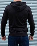 Кофта мужская на молнии чёрная с капюшоном, фото 4