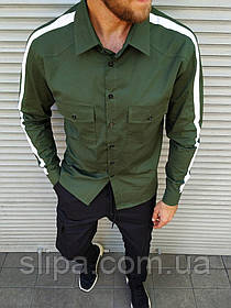Мужская рубашка с лампасом цвета хаки