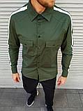 Мужская рубашка с лампасом цвета хаки, фото 2