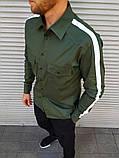 Мужская рубашка с лампасом цвета хаки, фото 4