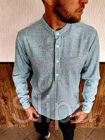 Мужская льняная рубашка с длинным рукавом бирюзовая
