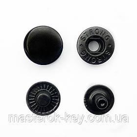 Кнопка металлическая Альфа 15мм. Турция цвет черный никель (50 шт в упаковке)