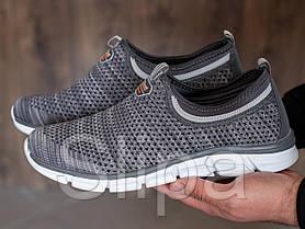 Мужские кроссовки без шнуровки на лето серые